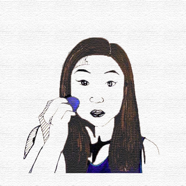Editorial Illustration. Pictured: Woman looking in a mirror applying makeup with a sponge.